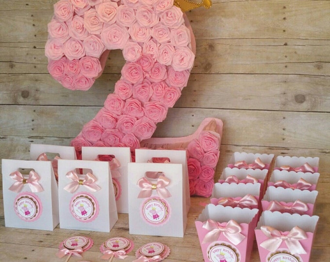 Pink and gold Peppa pig Mini Popcorn Boxes (Inspired) theme party,Peppa Pig and George,Peppa Pig and gold party This Price Is A Single Box!!