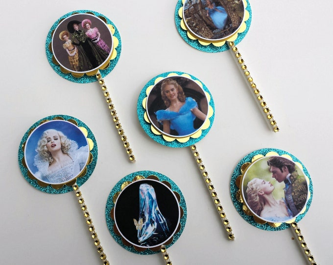 Cinderella 2015 inspired Cupcakes Toppers,New Cinderella party,Blue and gold Cinderella party This Price is For A Single cupcake topper!!