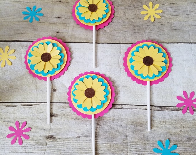 Frozen fever inspired flower Cupcakes Toppers,Frozen fever movie,Frozen party, This Price Is For A Single Cupcake Topper!!