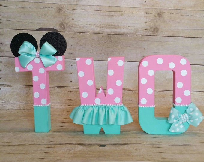Minnie Mouse Party letters,Pink and Teal Birthday letters, nursery letters decorations... this listing is for 3 # Letters