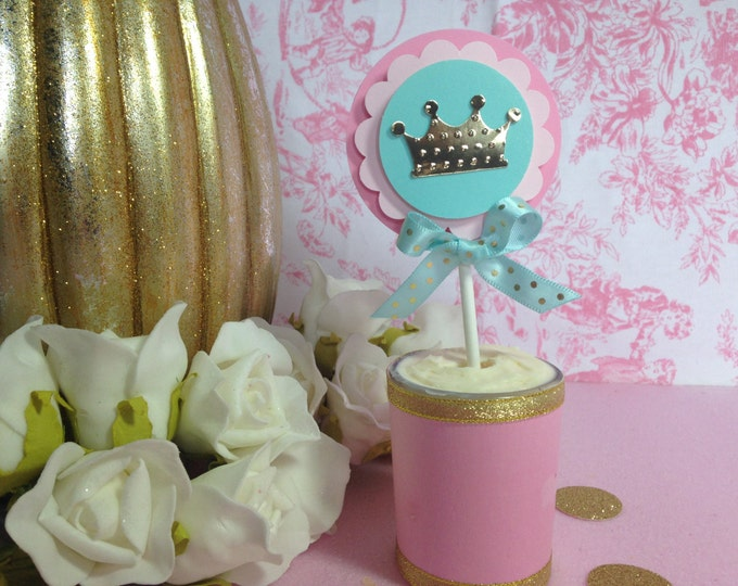 Crown Cupcakes Toppers,Pink and Gold Party,Mint Party,Princess Party, Aqua party, This price Is For A Single cupcake Topper!!