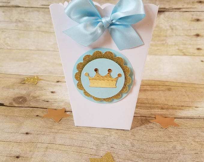 Mini Popcorn box, baby shower party favor,Crown popcorn box  ( This Price Is For A Single Box )