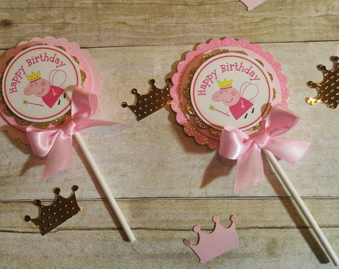 Pink and gold party Peppa pig (inspired)theme party,Peppa Pig and George,Peppa pig popcorn boxes,This price Is For A Single Cupcake Topper