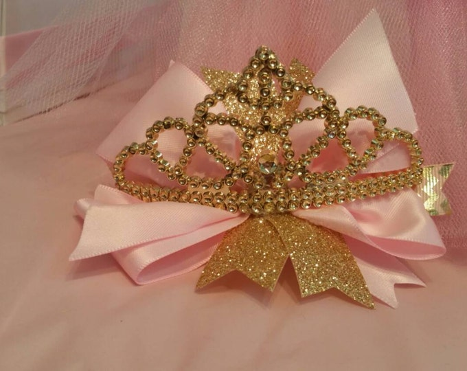 Birthday bow, pink and gold bow, Red & gold, Yellow and gold girls party,first birthday bow, gold crown....