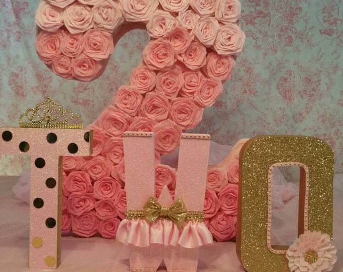Pink and gold letters, Birthday letters, First Birthday letters, ONE letters, nursery letters decorations, Firts birthday photo prop..