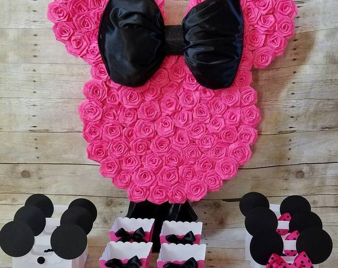 Hot Pink and Black Minnie Mouse Piñata!!Black and Hot Pink Minnie Mouse Party favors,Minnie Mouse party, (This Price is only for the piñata)