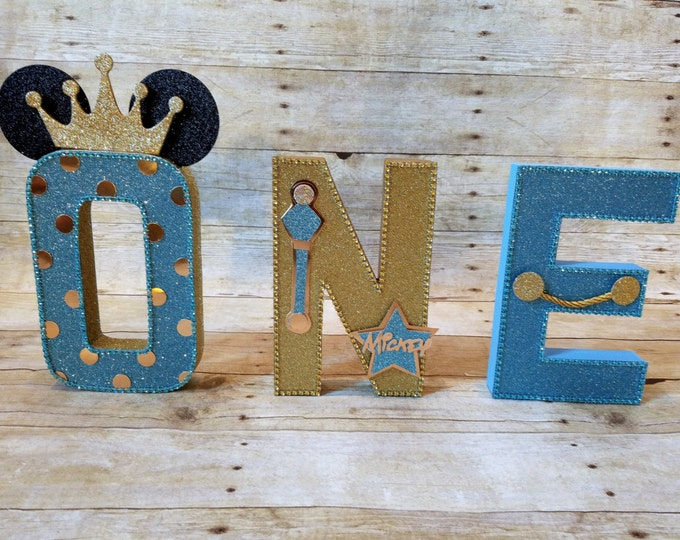 Mickey Mouse letters ,Blue and Gold Mickey Mouse Party,Prince Mickey mouse, Blue and Gold Party,Prince Letters Decorations,Mickey Mouse...