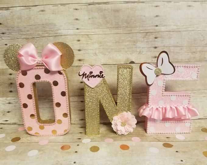 Pink and gold Minnie Mouse party,Pink and gold Minnie Mouse Party, ,Pink and gold party,letters decorations,