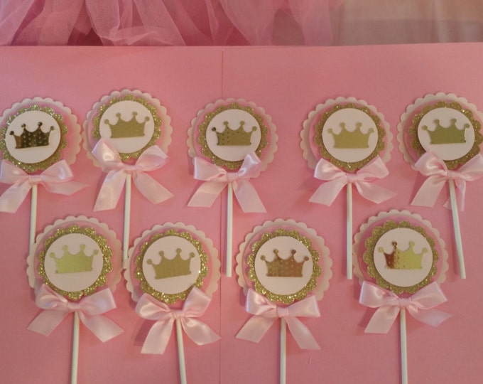 Crown Cupcakes Toppers,Pink and Gold Party Princess Party,Princess Baby Shower,Prince Baby shower This Price Is For A Single cupcake topper!