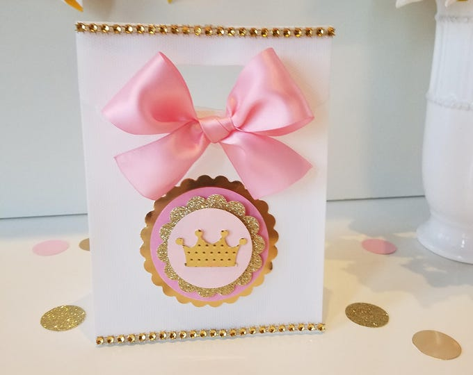 Pink and gold party ,Princess  Party Favor, Crown Treat Bags, Crown Baby Shower, girl Baby shower, This Price Is For A Single Bag!!