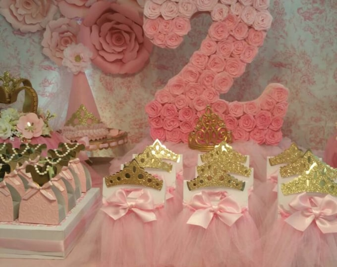Pink and gold party ,Princess Party Favor, Crown Treat Bags This Price Is For A Single tutu Bag!!