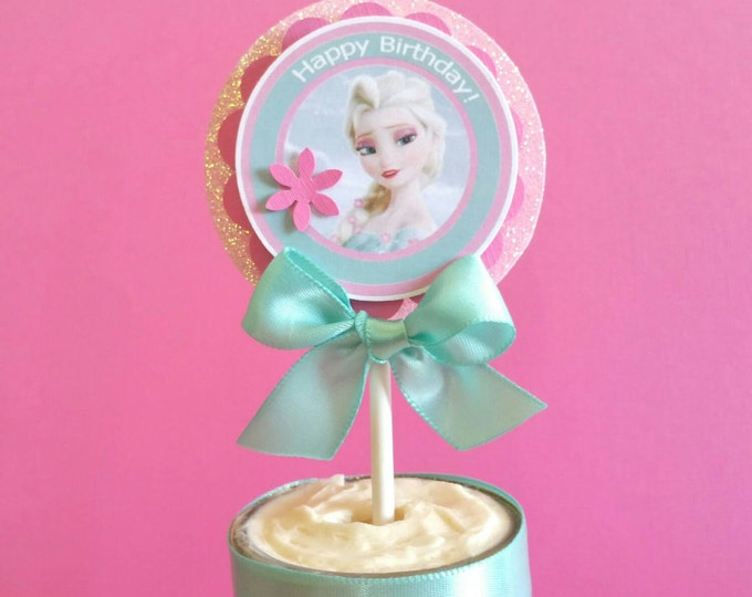 Frozen fever (Inspired) Cupcakes Toppers,New frozen (Inspired) party favor,Frozen (Inspired) party,This price is For A Single Cupcake Topper