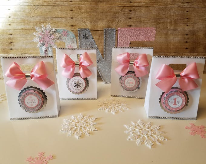 Pink Winter Wonderland favor bags ,winter party, Snowflake party favor, Winter and 1st Birthday Party (This Price Is For a single Bag)