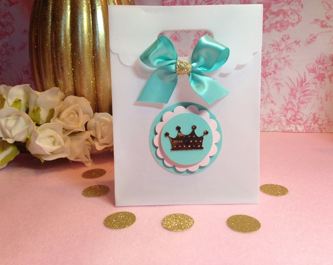 Pink gold and aqua party,Princess Party Favor,Crown Treat Bags,Pink and Mint party.. This Price Is For A Single Bag!!