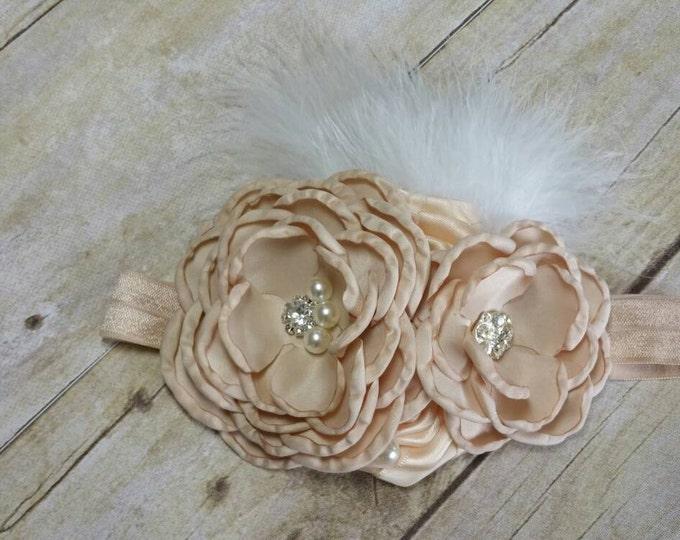 Flower headband, Baby headband, Handmade flower, Flower headband,first birthday headband,...