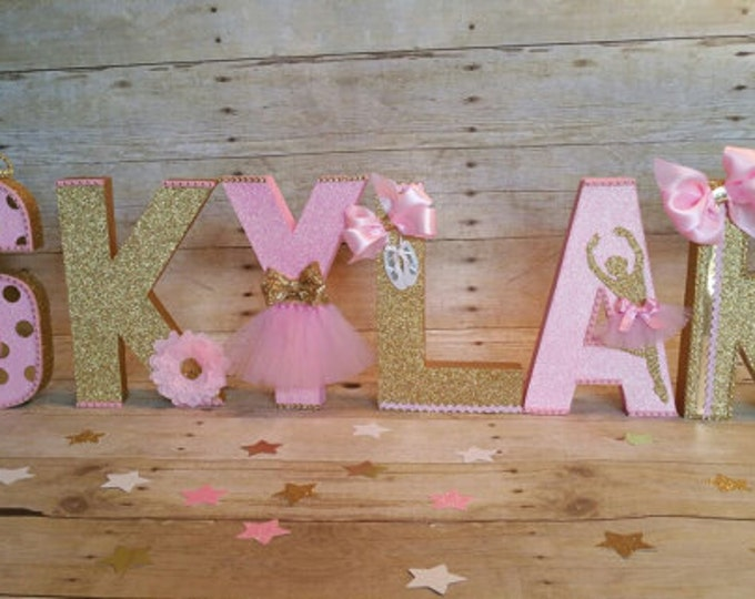 Pink and gold letters, Ballerina party,Dance Birthday,letters, nursery letters decoration.This Price is for a single Letter only...