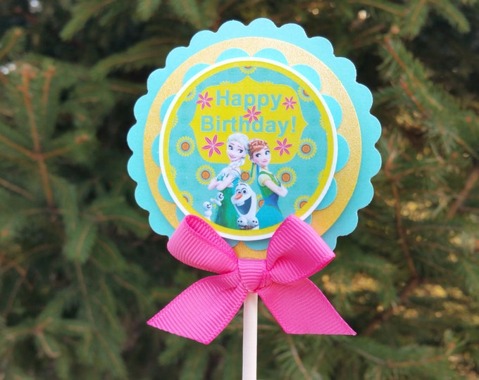 Frozen fever inspired Cupcakes Toppers,Frozen fever, frozen party favor,Frozen party,Elsa party.This Price Is For A Single Cupcake Topper!!