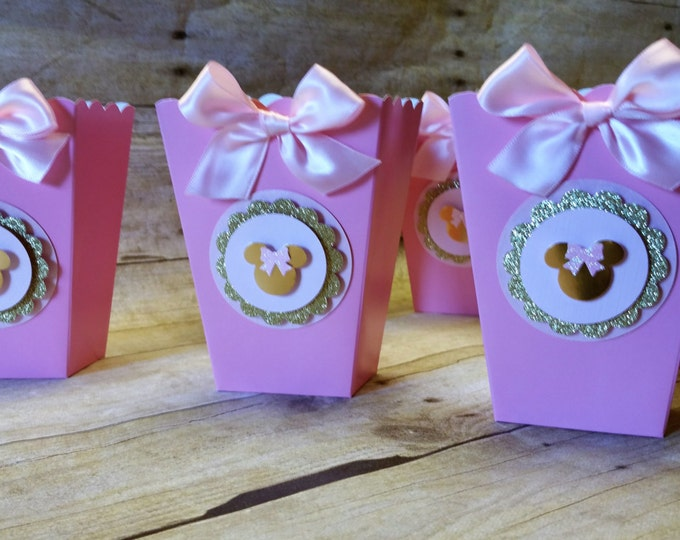Pink And Gold Minnie Mouse Mini Popcorn box, Gold & Pink party favor, ( This Price Is For A Single Boxe )