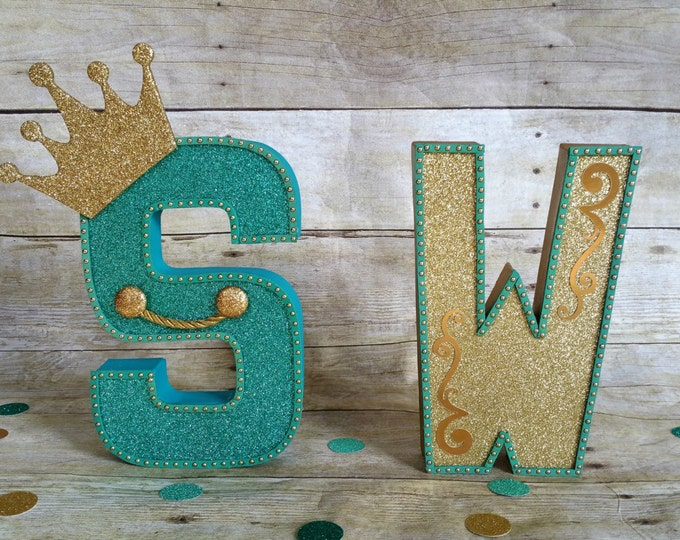 Tourquoise & Gold  letters, Birthday letters, First Birthday letters, ONE letters, nursery letters decorations...