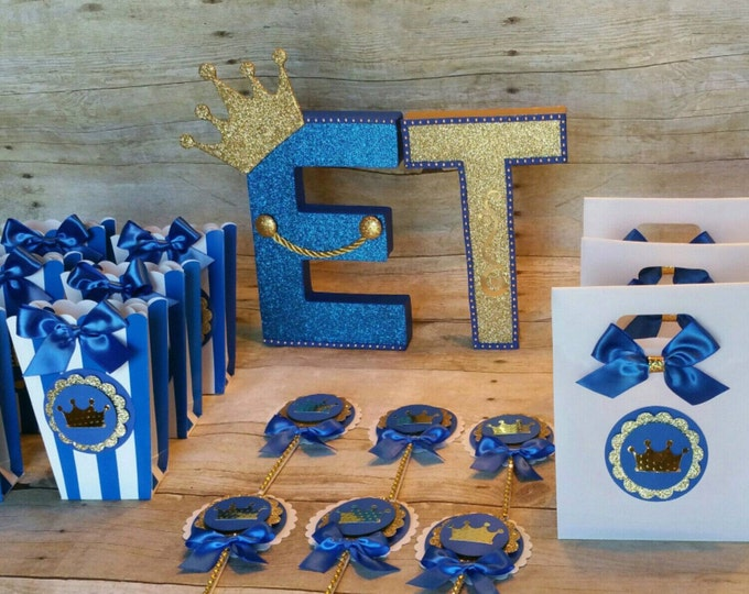 Royal Blue gold party ,Prince Party Favor,CrownTreat Bags,Baby Boy Shower, Baby Shower,Royalty Baby Shower(This Price Is For a single Bag)