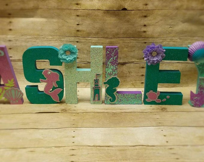 Mermaid Letter decoration, Mermaid Party, Under The Sea Party, Ariel party!! This price is For A Single Letter!!