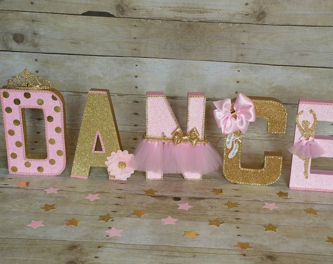 Pink and gold Party, ,Pink and gold letters,letters decorations,Princess party, Ballerina party decor,This price is For A Single Letter!!