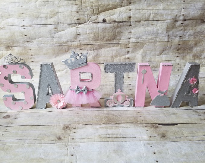 Pink and Siilver letters, Birthday letters, First Birthday letters, ONE letters, nursery letters decorations...