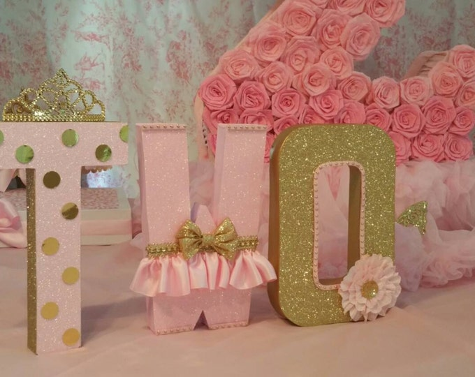 Pink and gold letters, Birthday letters, nursery letters decorations... this listing is for 3 # Letters