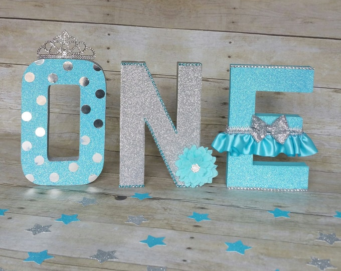 Blue and Siver letters, Birthday letters, First Birthday letters, ONE letters, nursery letters decorations...