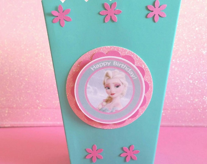 Frozen fever (Inspired) Mini popcorn box , Elsa (Inspired)  party favor, frozen (Inspired)  party box!! This Price is For A Single Box!!