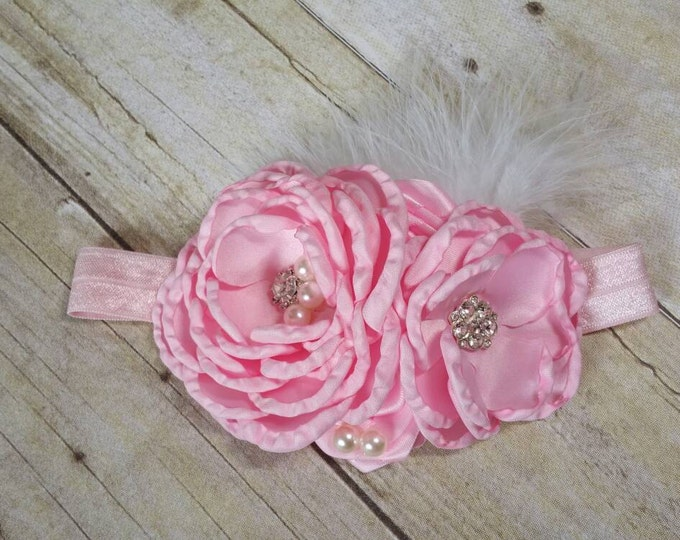 Flower headband, Baby headband, Handmade flower, Flower headband,first birthday headband,...