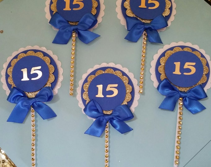 Sweet 16 Party,Quinceañeras Party, Royal Blue and gold party,Prince Party Favor,Cupcake Toppers!!This Price Is For A Single cupcake Topper!!