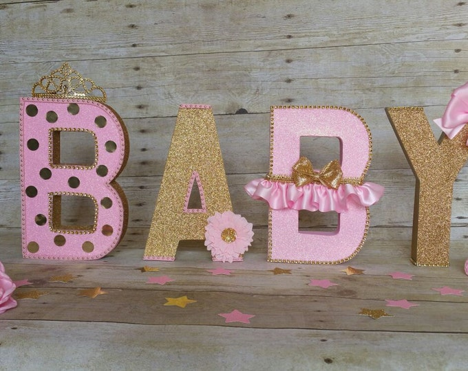 Girl Baby Shower,Pink and gold Baby shower,Royalty Baby shower,Pink and gold letters,This Listing is for 4 Letters only!