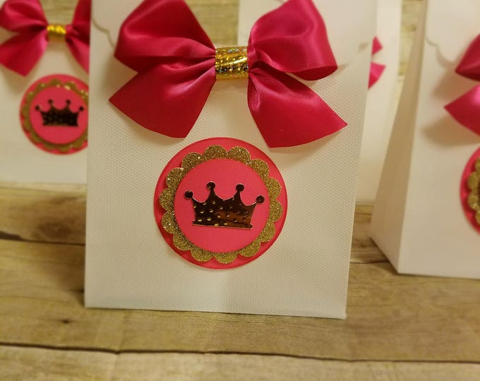 Pink and gold party ,Princess Party Favor, Crown Treat Bags, This Price Is For A Single Bag!!