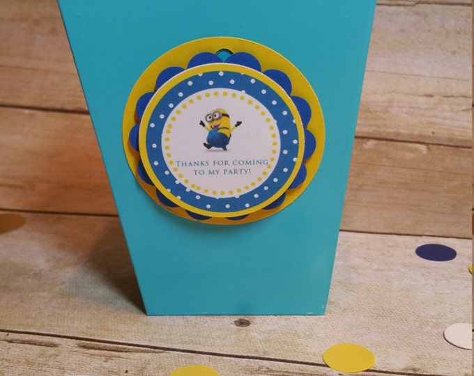 Minions  (Inspired) Mini popcorn boxes!!!Despicable me (Inspired) party favors.. This Price is For A Single Mini PopCorn Box!!