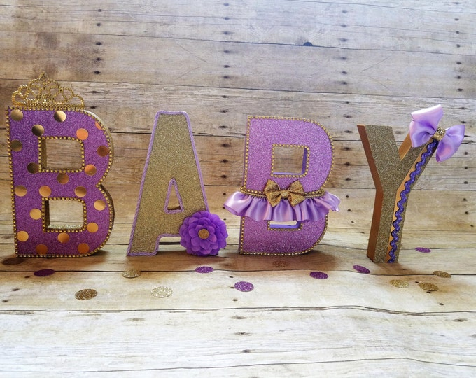 Girl Baby Shower,Purple and gold Baby shower,Royalty Baby shower,Purple and gold letters,This Listing is for 1 Letters only!