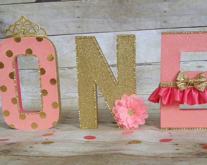 Coral and gold letters, Birthday letters, First Birthday letters, ONE letters, nursery letters decorations, Firts birthday photo prop..