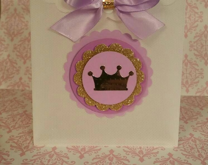Lavender  and gold party ,Princess Party Favor, Crown Treat Bags, This Price Is For A Single Bag!!