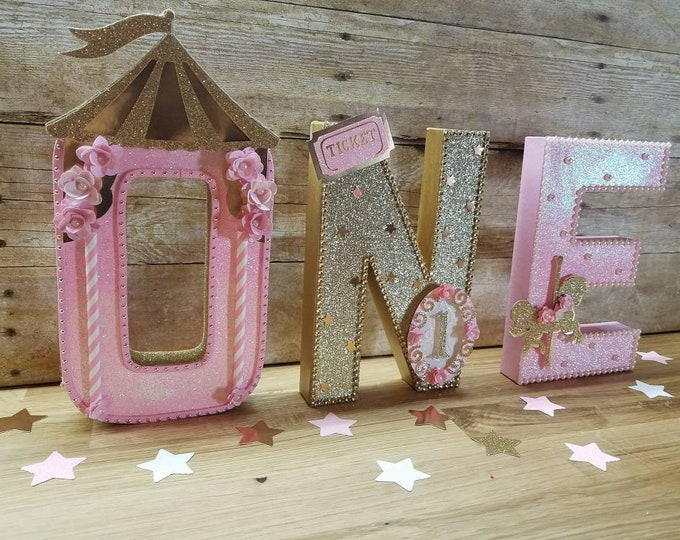 One letters carousel Theme, Pink and gold  carousel letters  ,Pink and gold  Party, Carousel theme party, carousel horse party...