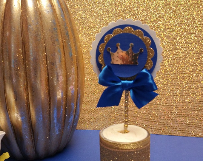 Cupcake toppers Royal Blue and gold party,Prince Party Favor,Prince Baby Shower,Royalty Baby shower This Price Is A For Single cupcaketopper