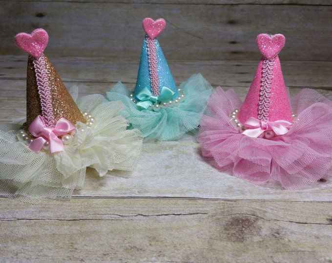 Birthday hat, pink and gold hat, pink and gold girls party,first birthday hat,Royalty Party hat....