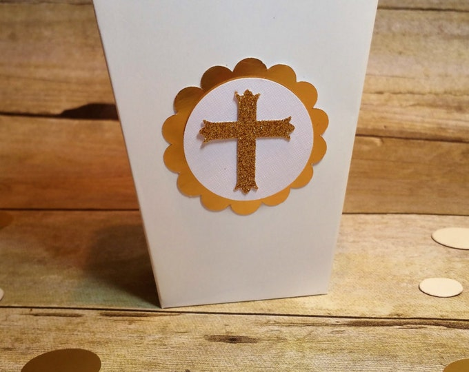 White and Gold First Communion Mini Popcorn Boxes,Pink and Gold Baptism Favor!! This Price is For A Single Box!!