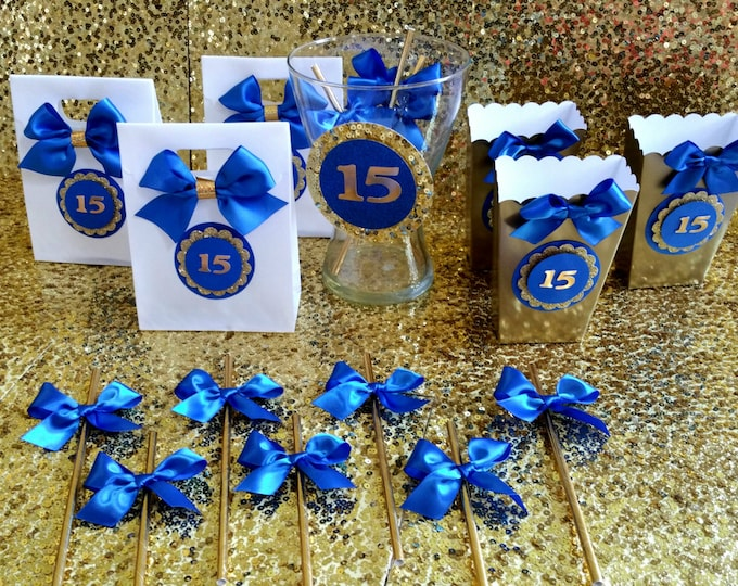 Sweet 16 Party,Quinceañera Party, Royal Blue and gold party,Prince Party Favor,Treat Bags!!This Price Is For A Single Bag!!