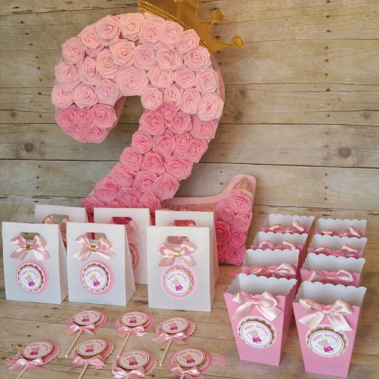 Pink And Gold Peppa Pig Mini Popcorn Boxes Inspired Theme Party