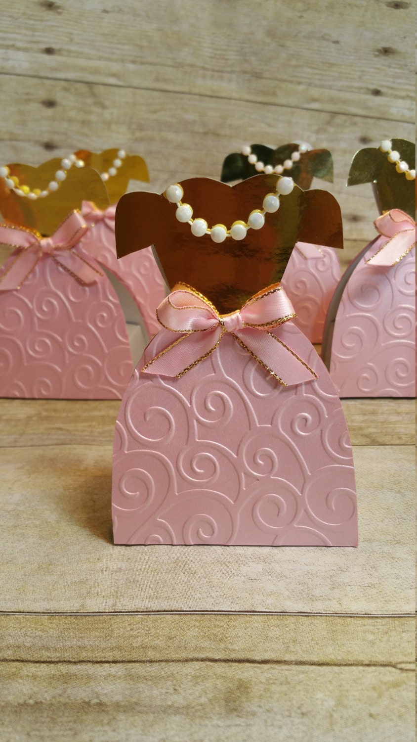 Pink and gold party,Princess dresses Party Favor,Paper Dress box ...