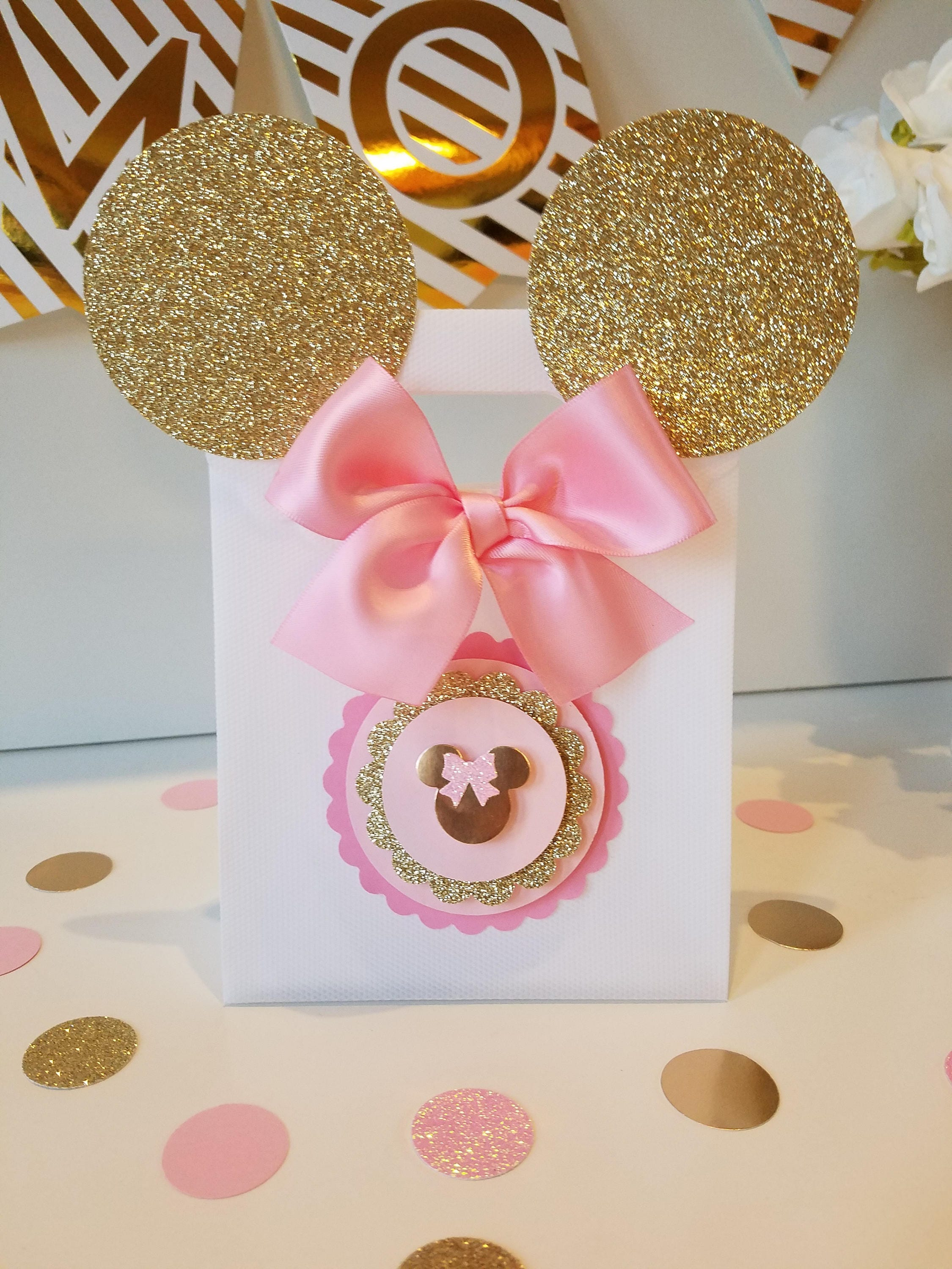 Pink and gold Minnie Mouse bags!Gold Minnie Mouse Party favors,gold ...