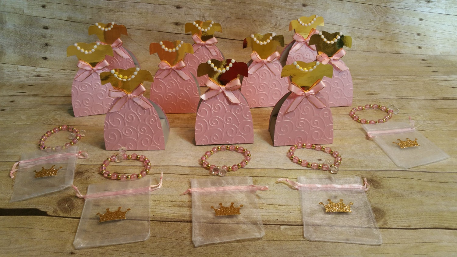 Pink And Gold Partyprincess Dresses Party Favorpaper Dress Box