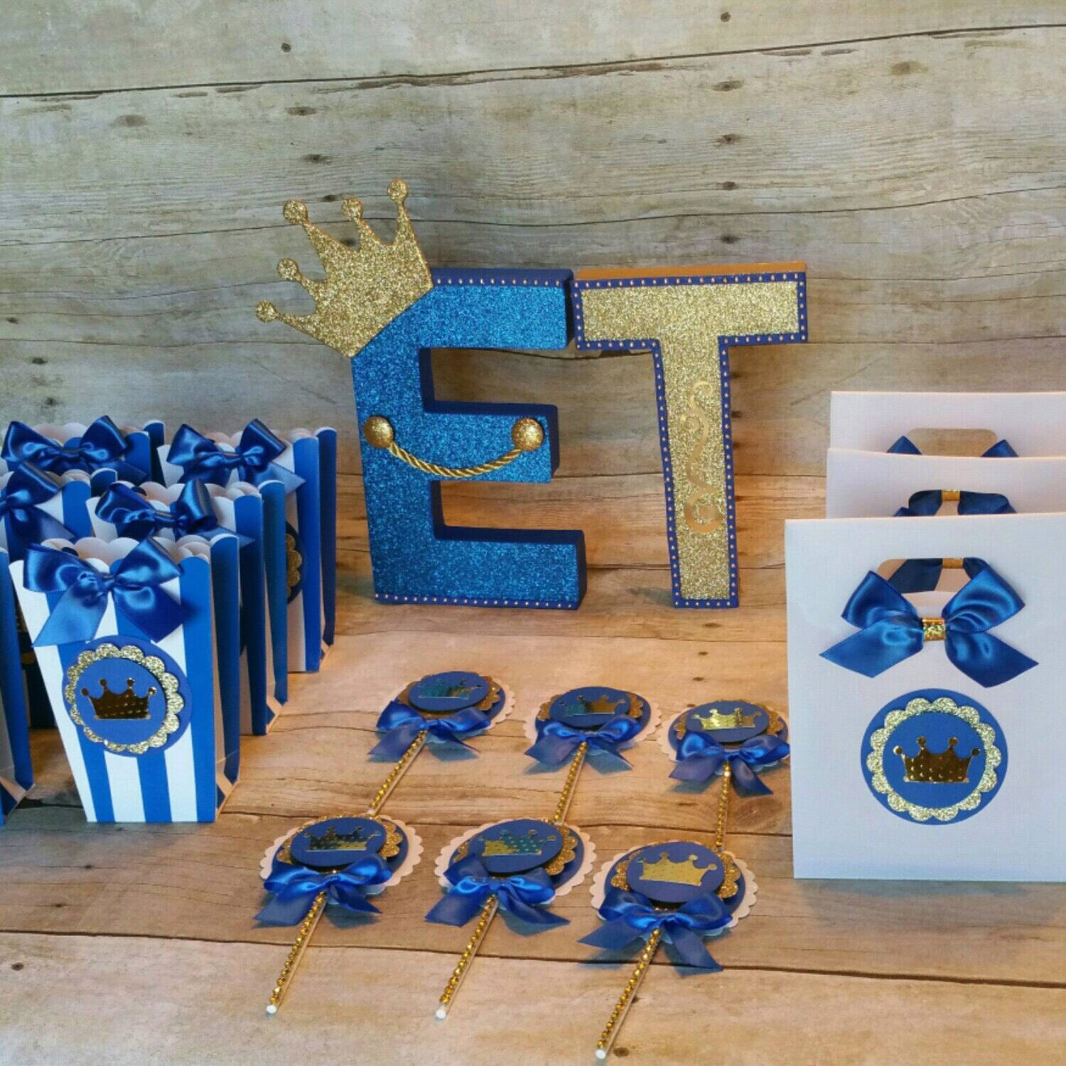 Royal Blue Gold Party Prince Party Favorcrowntreat Bagsbaby Boy