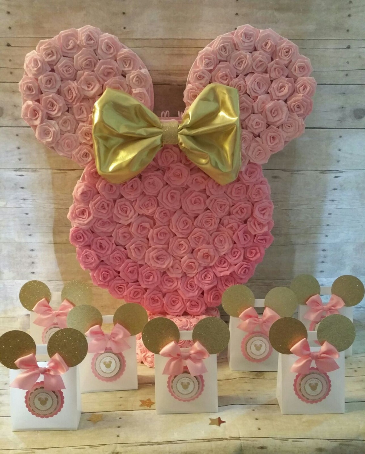 Pink And Gold Minnie Mouse Piñatagold Minnie Mouse Party Favors