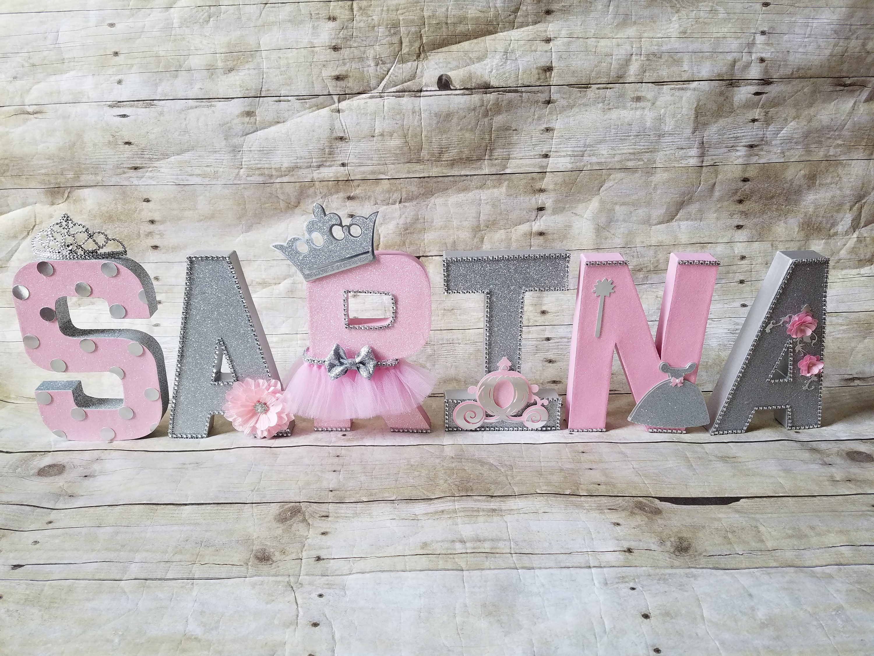 pink and siilver letters birthday letters first birthday letters one letters nursery letters decorations